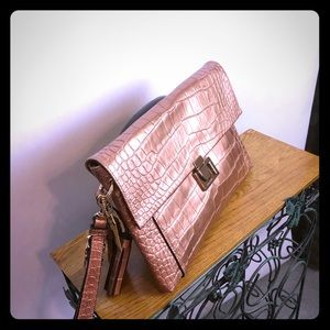 Coach Croco-embossed leather clutch